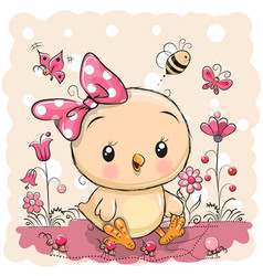 cute chicken with flowers and butterflies vector image
