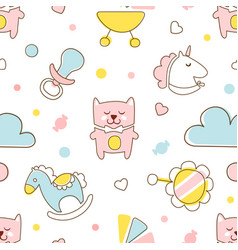 cute kids toys seamless pattern in pastel colors vector image