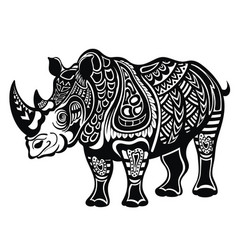 decorative rhinoceros in tattoo style vector image