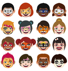 Face painted kids vector