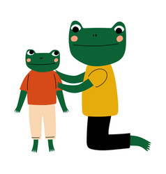 Father frog and his kid loving parent animal and vector