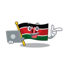Flag kenya with bring laptop cartoon vector