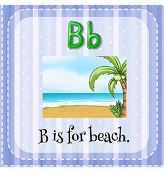 Flashcard letter B is for beach vector