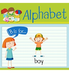 Flashcard letter B is for boy vector