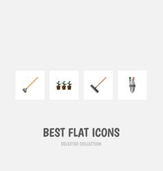 Flat icon dacha set of tool flowerpot harrow and vector