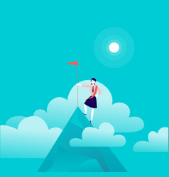 Flat with business lady standing on mountain peak vector