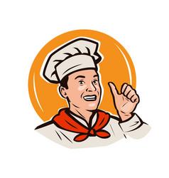 funny chef menu restaurant food logo or label vector image