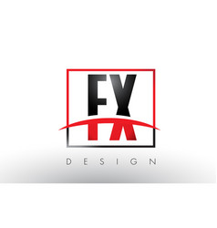 Fx f x logo letters with red and black colors and vector