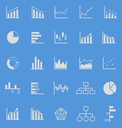 graph color icons on blue background vector image