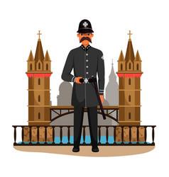 Guard man queens patrol soldier and big ban tower vector