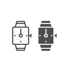 hand watch line and glyph icon square wrist watch vector image