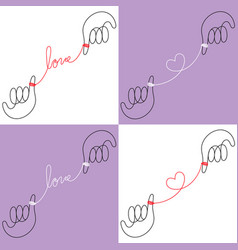 Hands connected red string fate vector