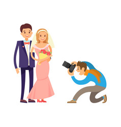 happy couple wedding bride groom photograph vector image