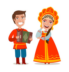 Happy russian people in traditional national vector