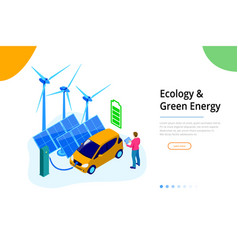 Isometric ecology and green energy concept for vector