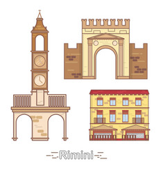 italy rimini outline city buildings linear vector image