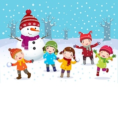 Kids playing outdoors in winter vector