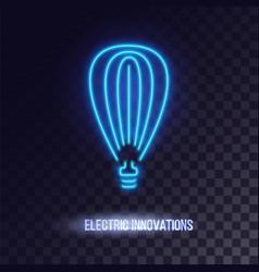 light blue neon light icon vector image