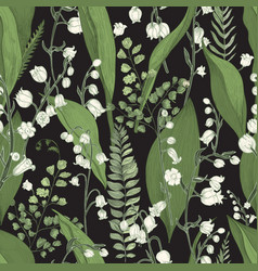 Lily valley with fern seamless pattern vector