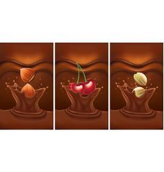 luxury chocolate splash with cherry pistachio vector image