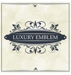 Luxury emblem swirl ornament typographic design vector