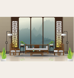 luxury living room in chinese style background vector image