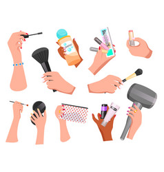Makeup cosmetic supplies icons vector