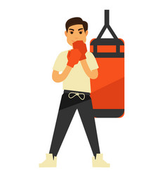 Man boxing punching bag or box ball fitness vector