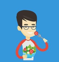 man eating healthy vegetable salad vector image