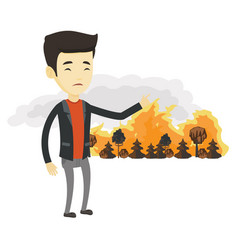 Man standing on the background of wildfire vector