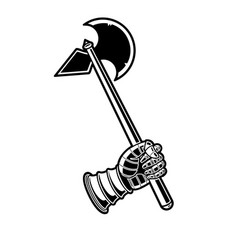 medieval axe black and white icon vector image