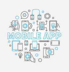 Mobile app circular with phone vector