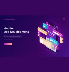 mobile web development isometric concept vector image