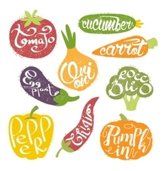 Names OF Fruits In Fruit Shaped Frame Collection vector image