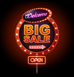 Neon sign big sale open vintage electric signboard vector