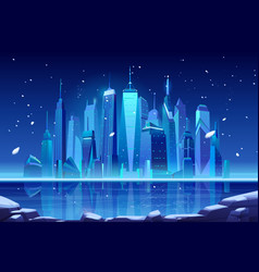 Night neon winter city skyline at frozen bay vector