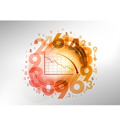 numbers red with graph vector image
