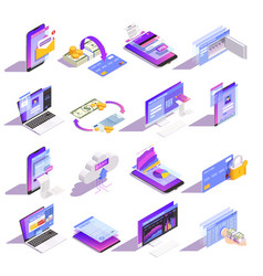 online banking isometric icons vector image