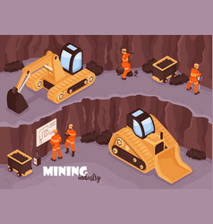 Open mine isometric background vector