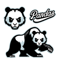 panda mascot istyle with separated head vector image