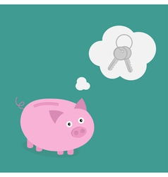 Piggy bank dream about key Think bubble Flat vector