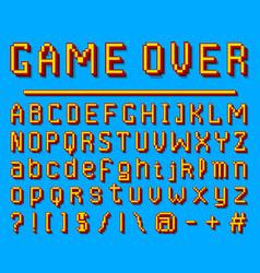 Pixel font 8-bit symbols digital video game vector