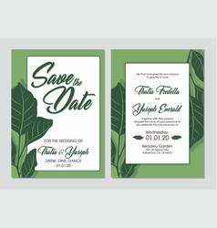printable leaf wedding invitation vector image
