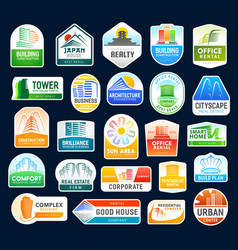 Real estate agency construction building icons vector