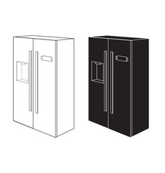 Refrigerator two-door black and white icon vector