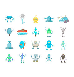 robot icon set cartoon style vector image