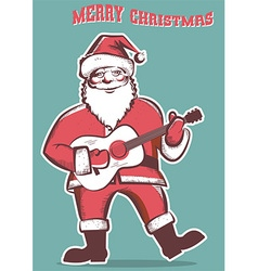 santa claus playing guitar isolated vector image