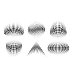 Set 3d halftone circle dots curved texture vector