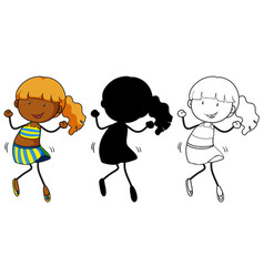 set dancing girl vector image