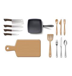 set kitchenware utensils or cookware mockup vector image